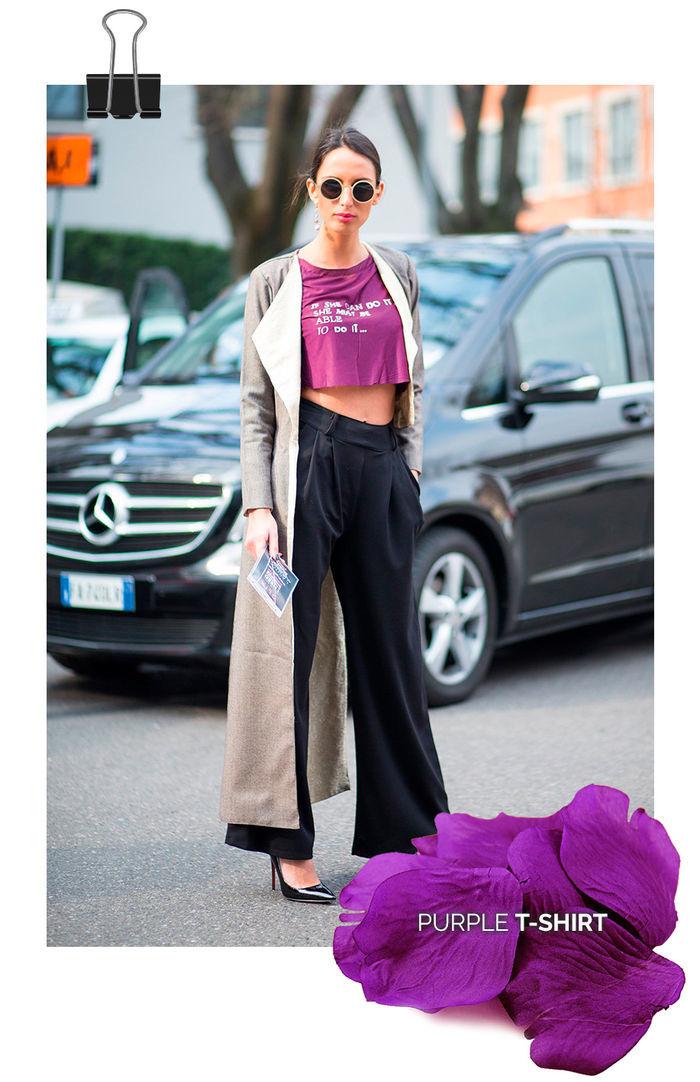 Layla Monteiro truque de estilo look com cor marcante t-shirt cropped roxo