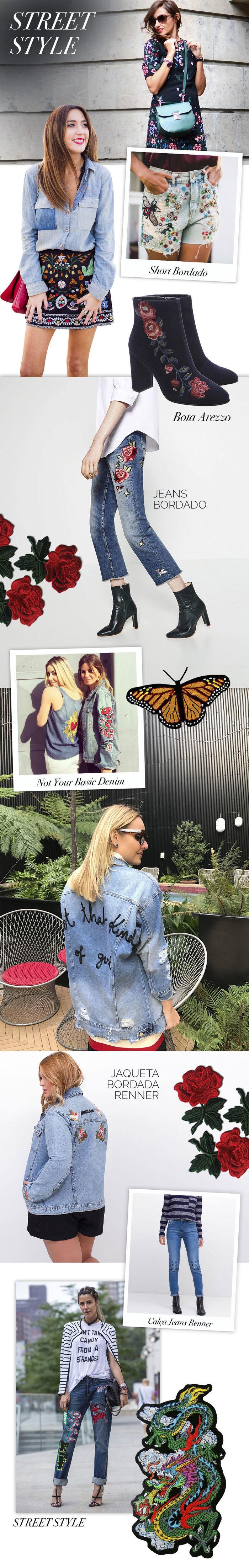 Layla Monteiro tendência como usar peças com bordado jaqueta jeans Renner bota Arezzo bordada