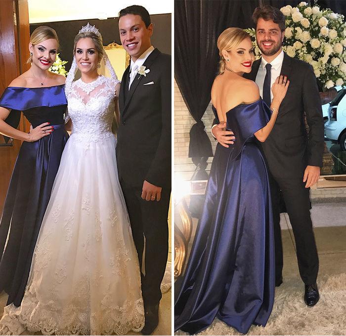 Layla Monteiro vestido longo azul cetim ombro a ombro madrinha casamento beleza batom vermelho coque baixo os noivos