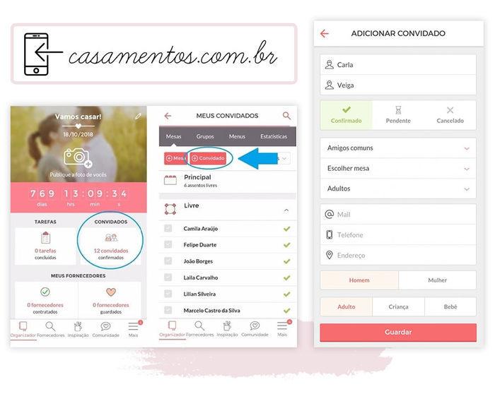 Aplicativos organização de casamento Casamentos.com.br