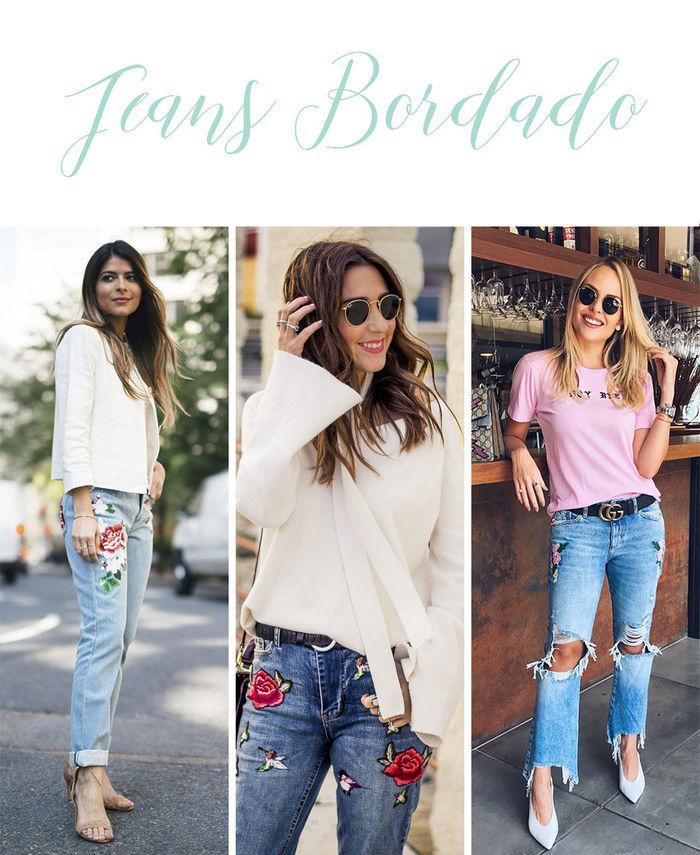 Calças Jeans do Momento - Jeans bordado