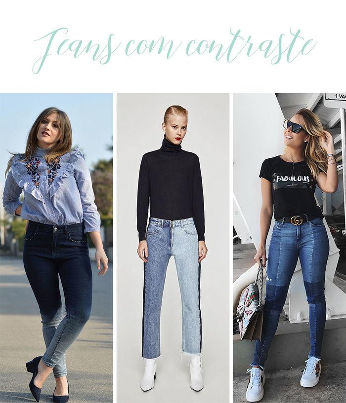 Calças Jeans do Momento - Jeans com contraste