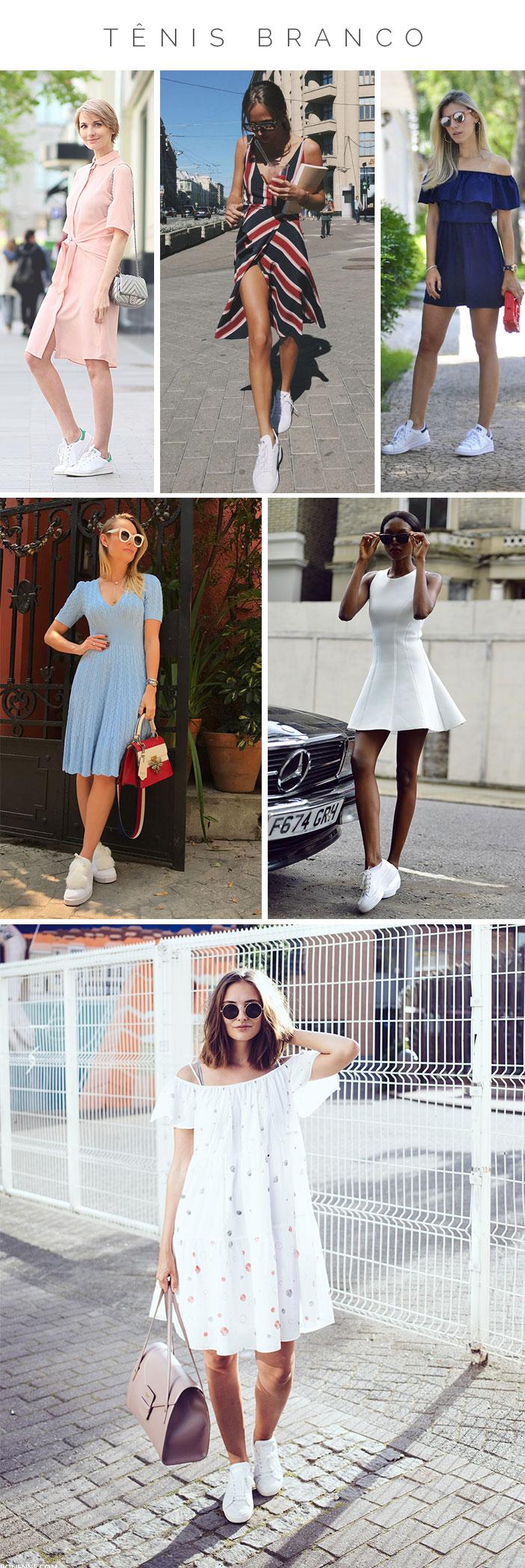 Como usar vestido com tênis - Tênis branco