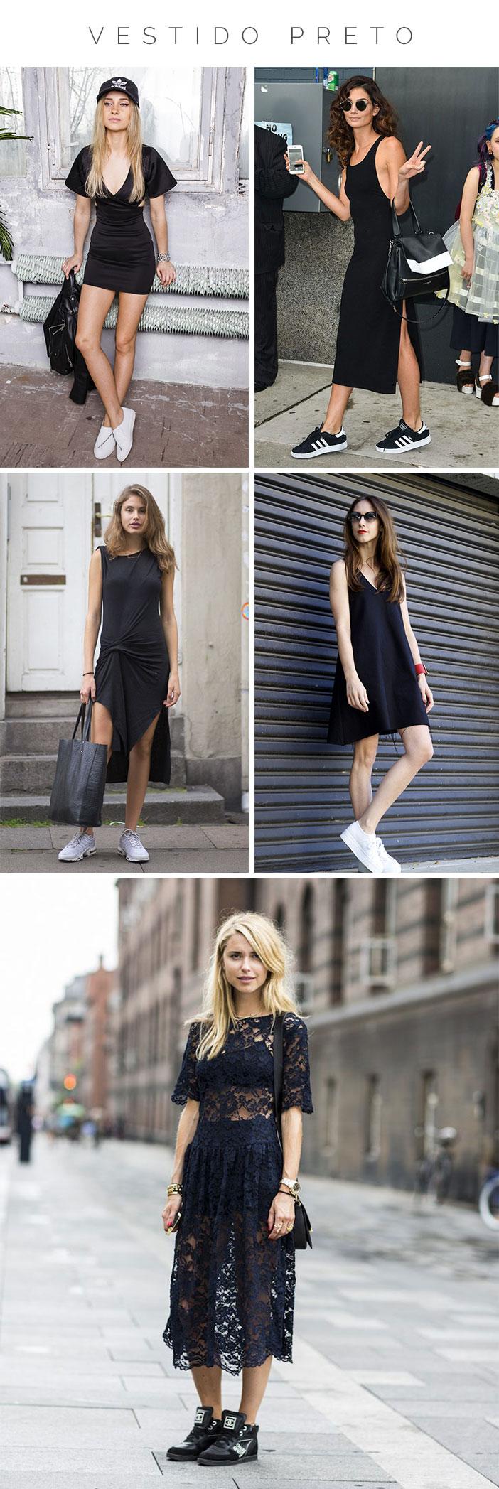 Como usar vestido com tênis - Tênis preto