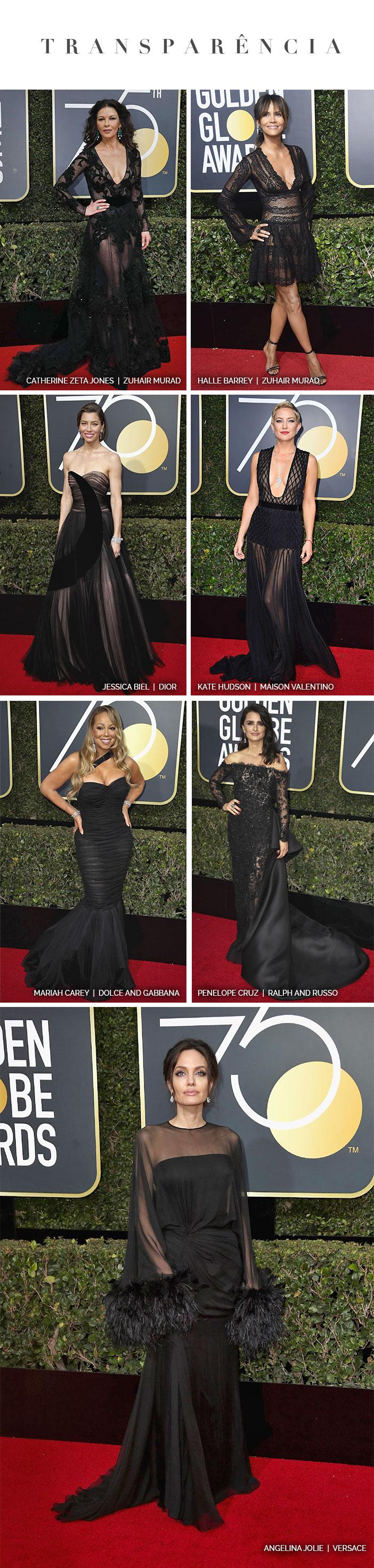 Red carpet: Golden Globe Awards 2018 - Looks com Transparência
