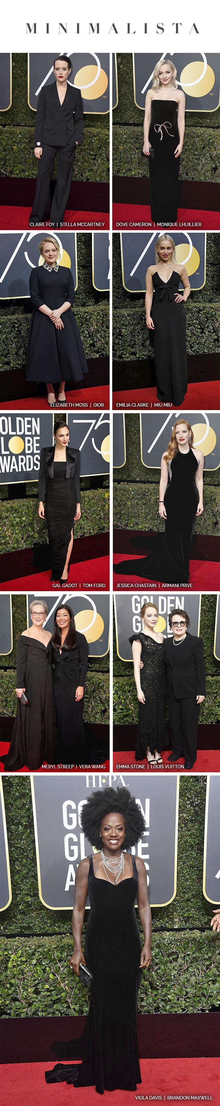 Red carpet: Golden Globe Awards 2018 - Looks Minimalistas