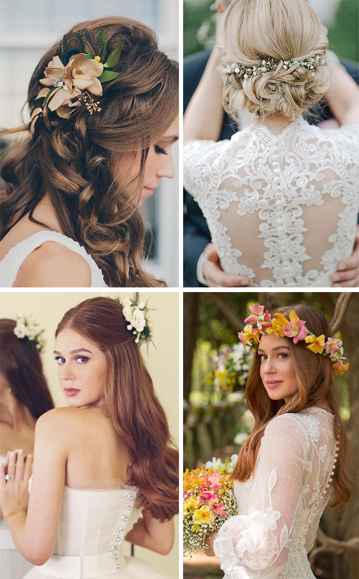 Beleza de Noiva: Flores no cabelo
