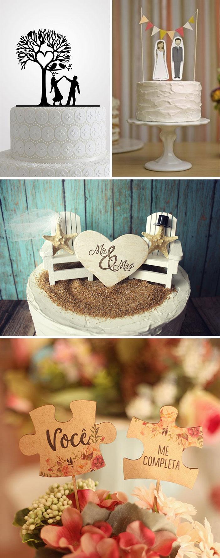 Casamento: topos de bolo criativos