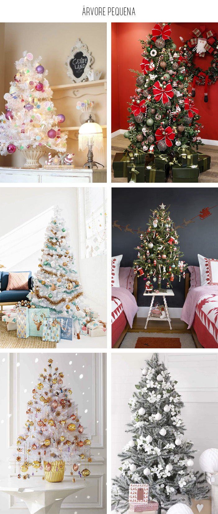 Inspiração - Decoração de árvore de natal: Árvore Pequena