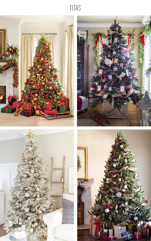 Inspiração - Decoração de árvore de natal: Fitas