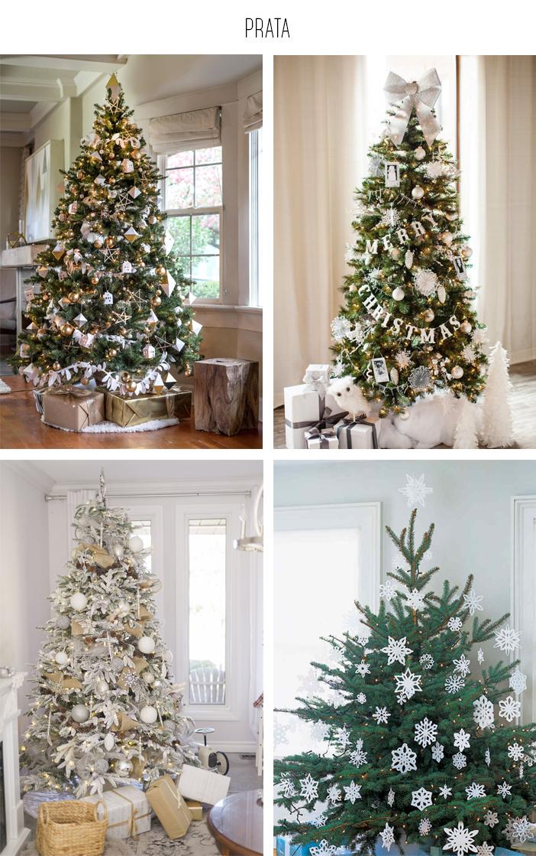 Inspiração - Decoração de árvore de natal: Prata