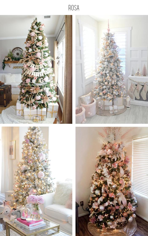 Inspiração - Decoração de árvore de natal: Rosa