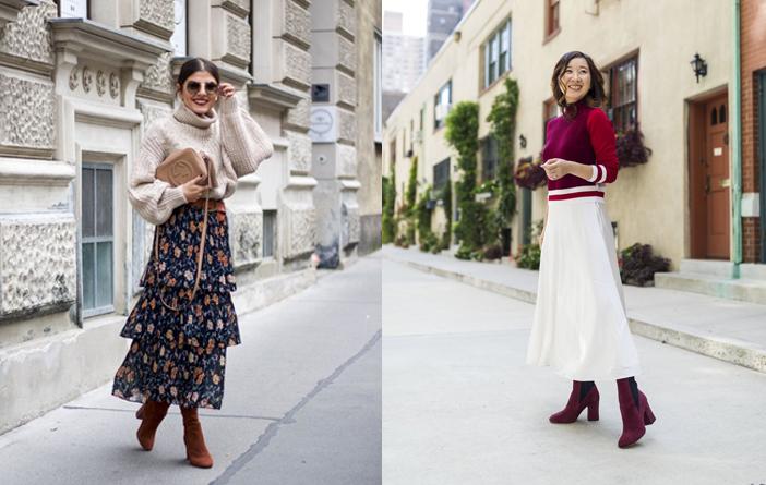 Ideias para usar saia midi no Inverno