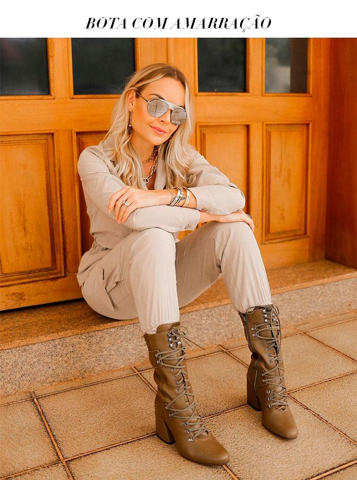 Tendências de calçados Inverno 2021 bota com amarração